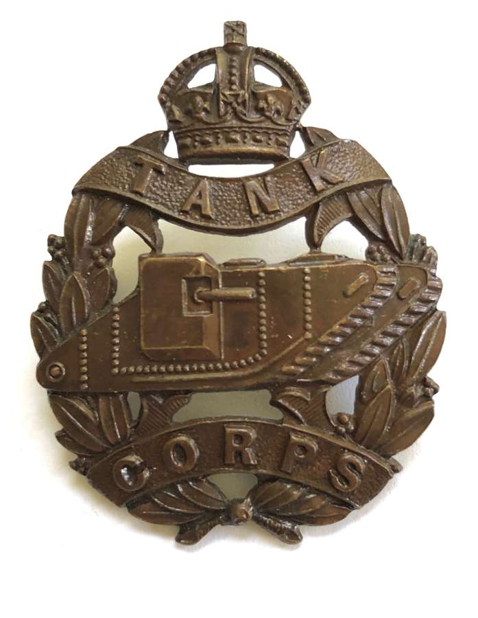 WW1 Tank Corps Officer's OSD bronze cap badge