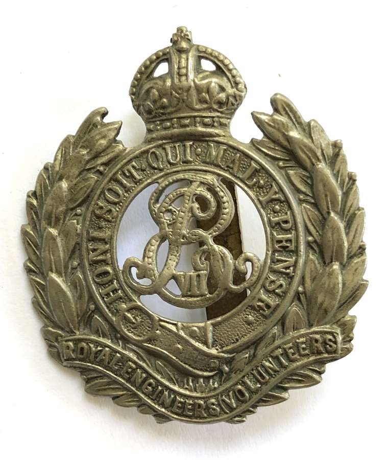 Royal Engineers (Volunteers) EdVII white metal cap badge c1901-08