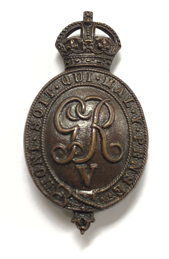 Household Battalion WW1 OR's bronze cap badge circa 1916