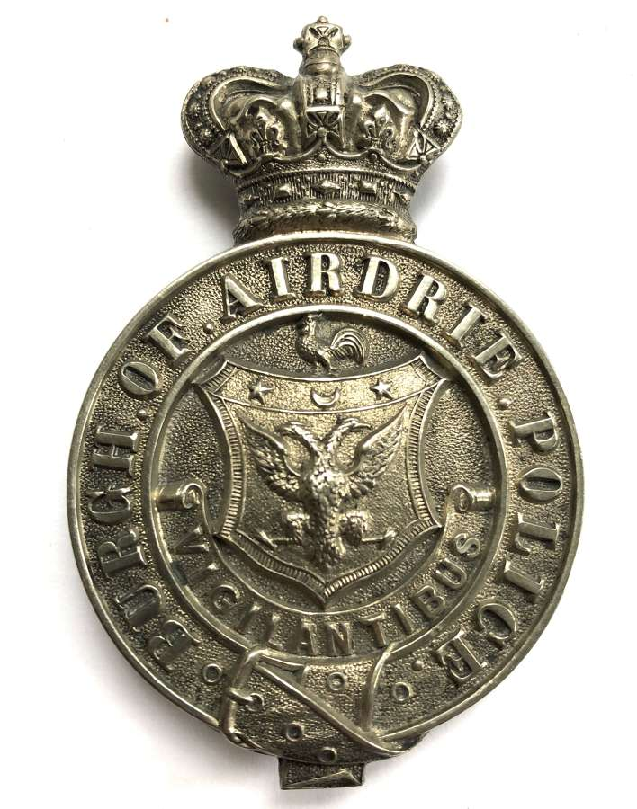 Burgh of Airdrie Police Victorian helmet plate