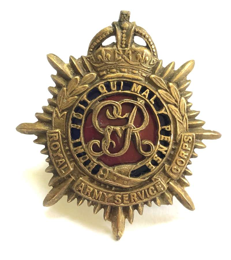Royal Army Service Corps GVIR Officer's cap badge circa 1937.