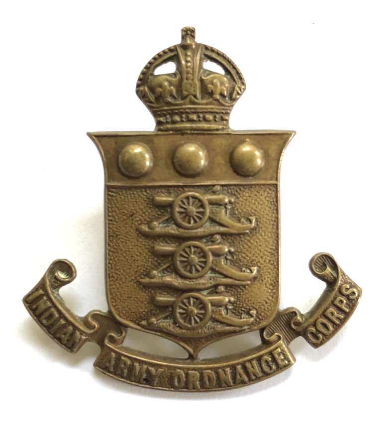 Indian Army Ordnance Corps cap badge circa 1922-47