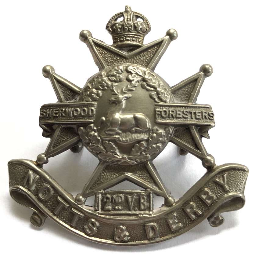 2nd VB Sherwood Foresters (Notts & Derby) OR's cap badge c1902-08