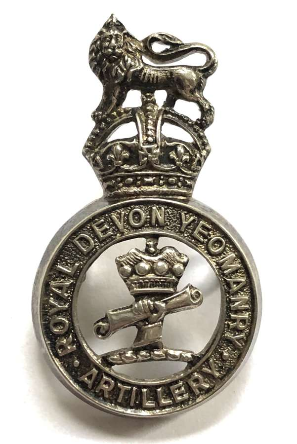 Royal Devon Yeomanry Artillery Officer's silver plated cap badge