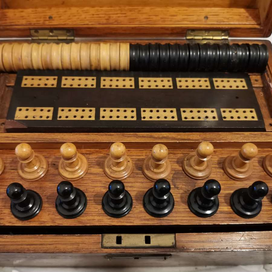 Antique Oak Cased Games Box - Chess, Draughts, Cribbage.