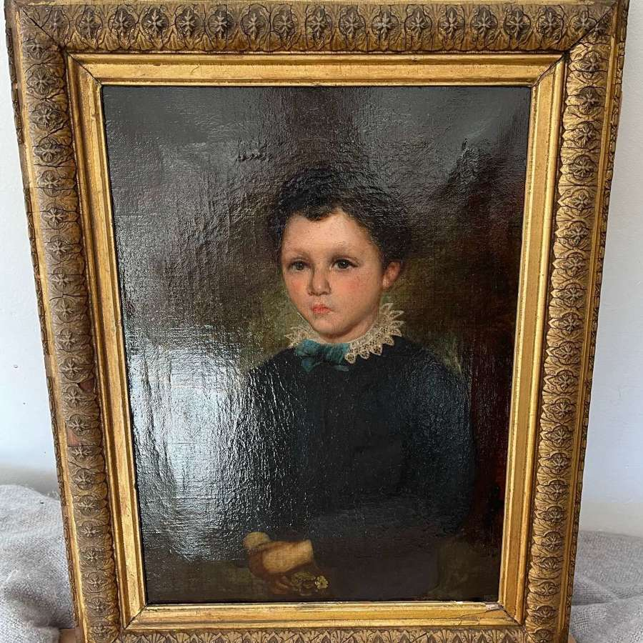 Antique c1700s Oil Painting of Young Boy with Ruff Collar holding posy
