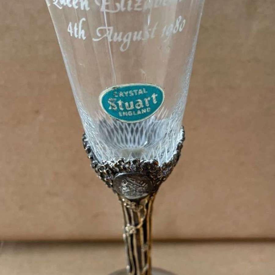 St James House Company Silver and Stuart Crystal Queen Mother Goblet.