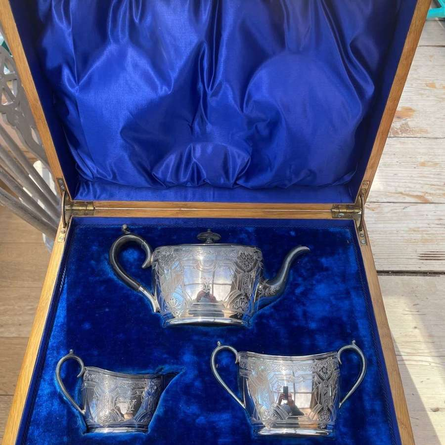 Victorian Oak Cased Silver Teaset by P Ashberry&Sons Sheffield 1898.