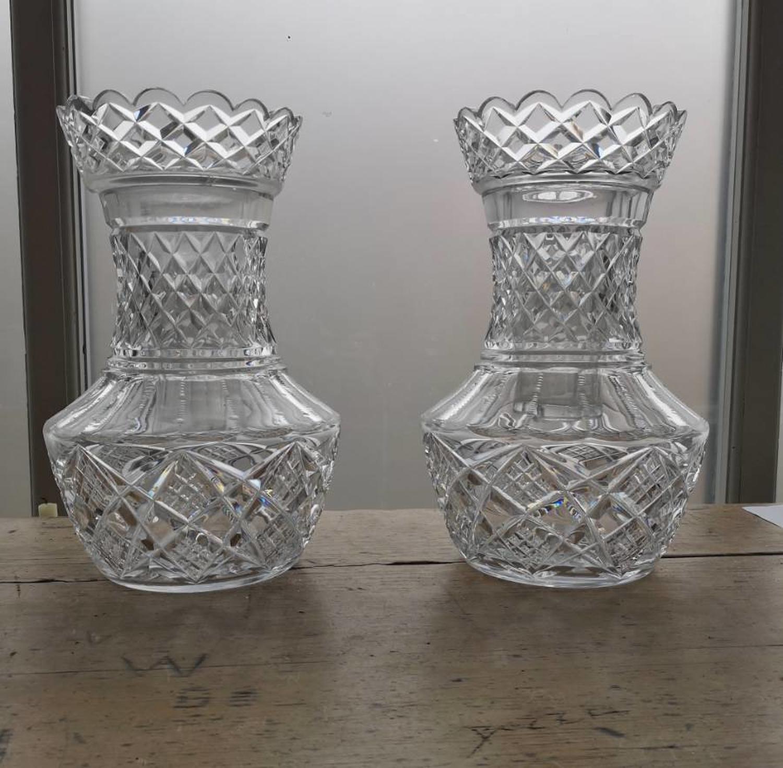 Irish cut glass flower vases