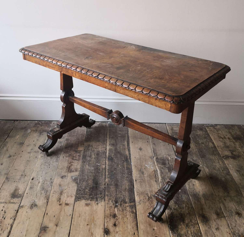 19th century Neo Classical bur walnut centre table