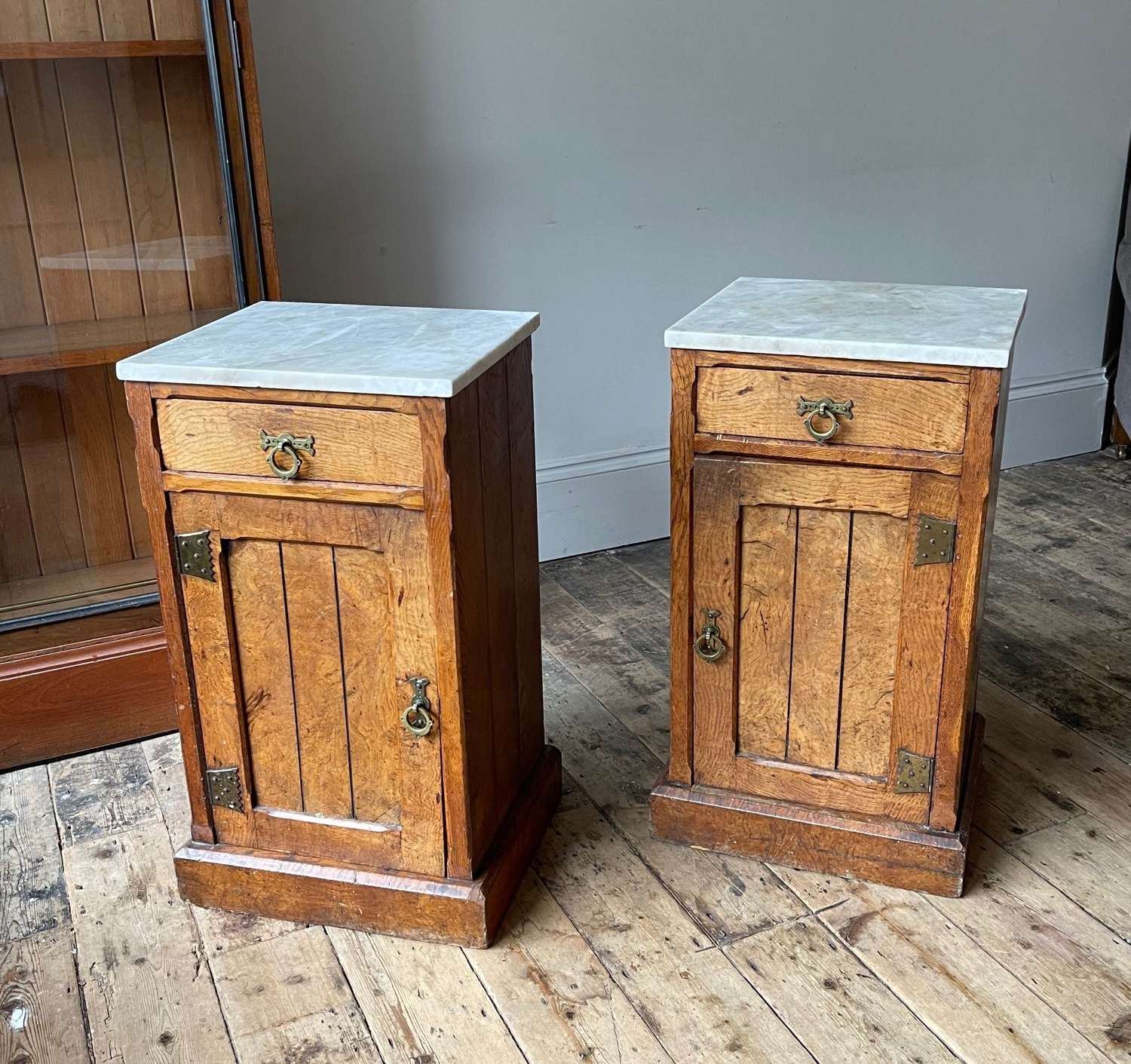 A pair of 19th century bedside cabinets