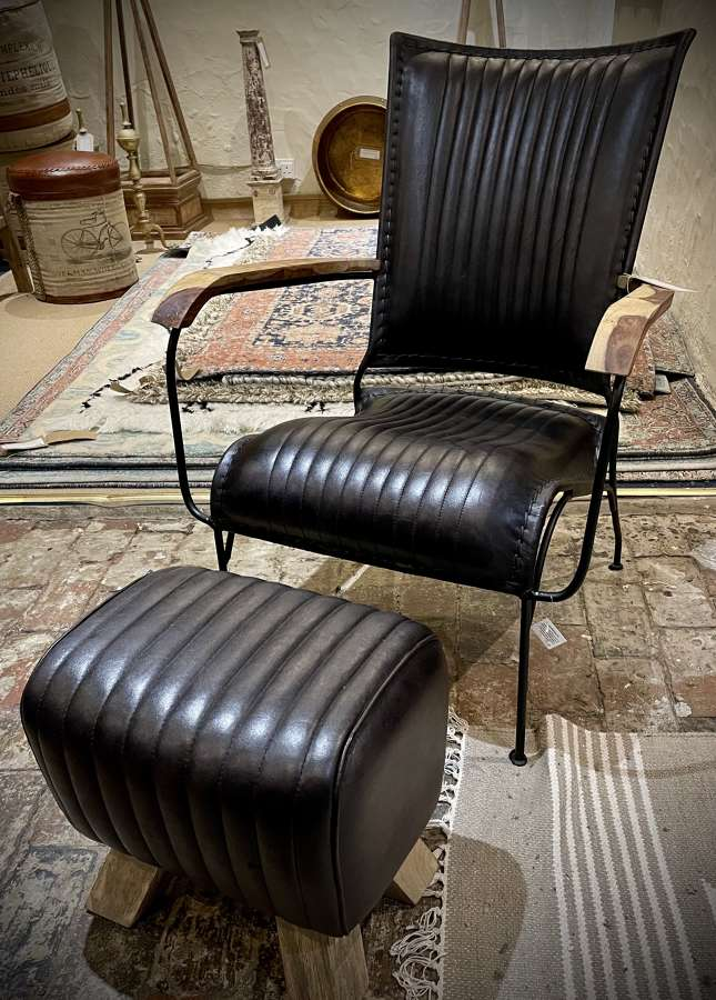 Leather and iron framed chair