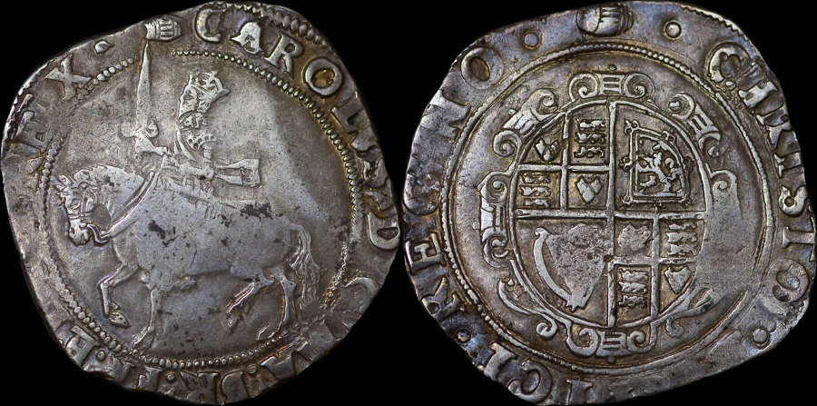 CHARLES I SILVER HALFCROWN, GROUP III, EX FROGMORE COLLECTION