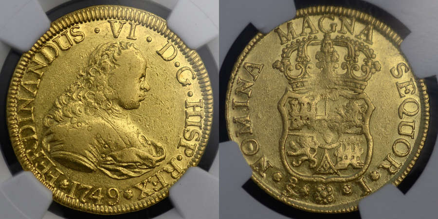 SPAIN, FERDINAND VI, 1749 GOLD 4 ESCUDO FROM THE SHIPWRECK OF NUESTRA
