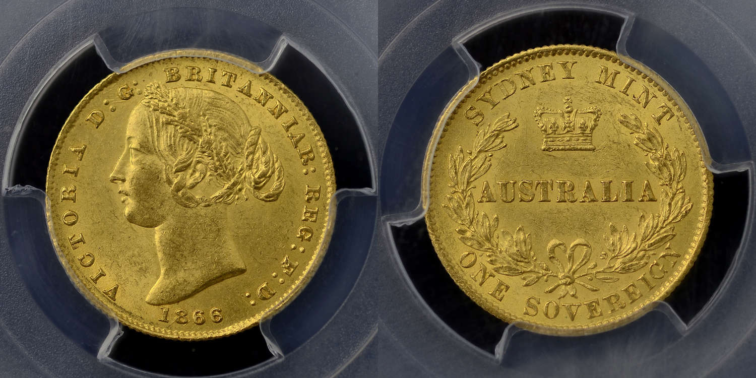 AUSTRALIA, VICTORIA 1866 GOLD SOVEREIGN, SYDNEY MINT, GRADED MS63