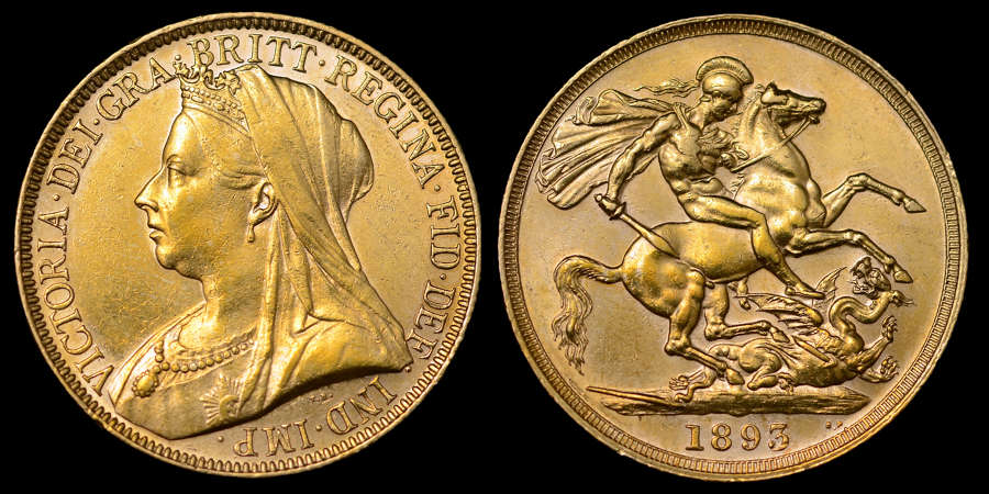 VICTORIA 1893 GOLD TWO POUNDS