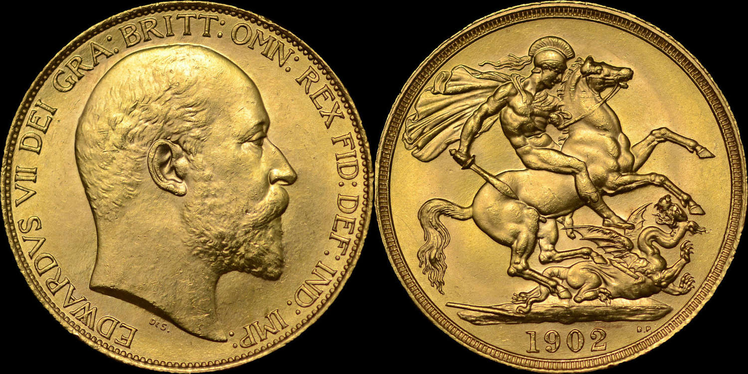 EDWARD VII 1902 GOLD TWO POUNDS, CURRENCY ISSUE