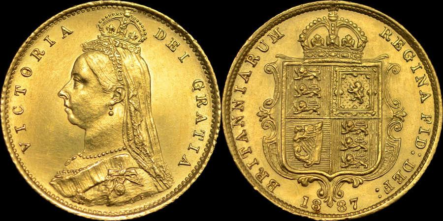 VICTORIA, 1887 GOLD HALF-SOVEREIGN