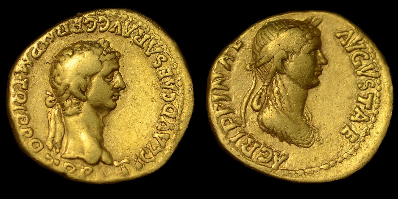CLAUDIUS WITH AGRIPPINA JUNIOR, GOLD AUREUS OF LUGDUNUM MINT