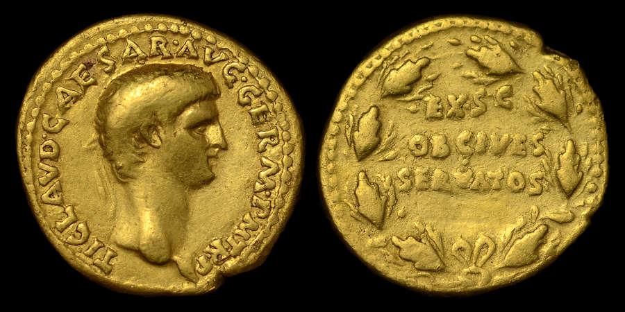 CLAUDIUS GOLD AUREUS OF LUGDUNUM MINT