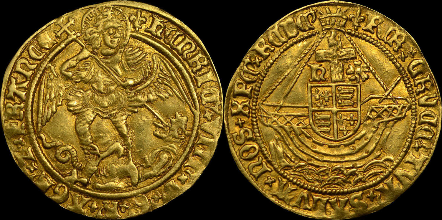 HENRY VIII GOLD ANGEL, RARE SECOND COINAGE, EX. DOUBLEDAY, NORWEBB AND
