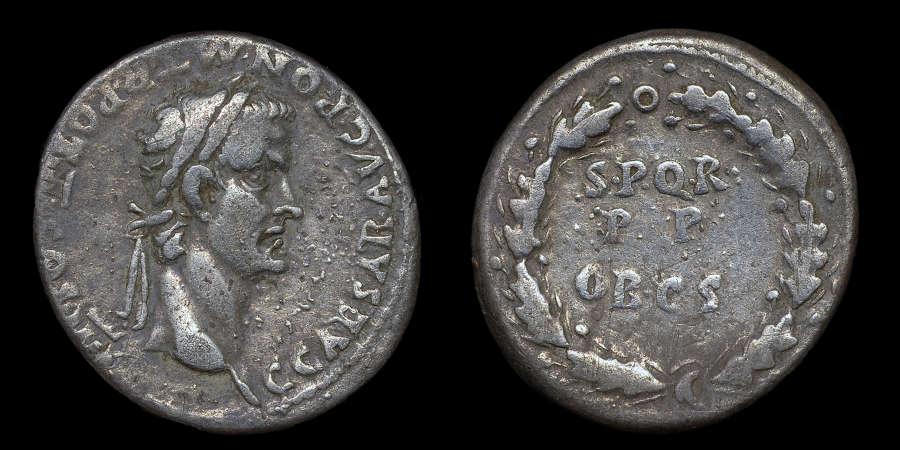 GAIUS CALIGULA SILVER DENARIUS
