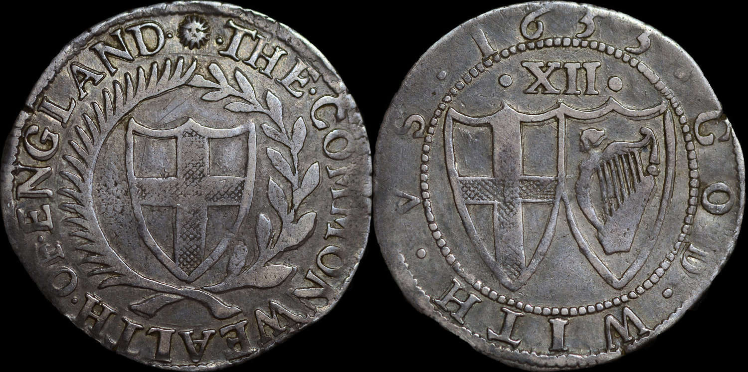 COMMONWEALTH 1653 SILVER SHILLING