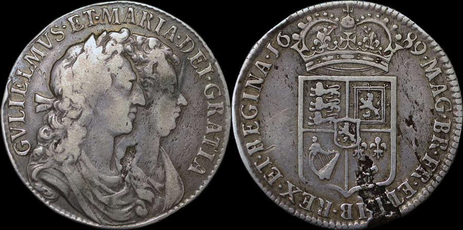 WILLIAM AND MARY 1689 SILVER HALFCROWN