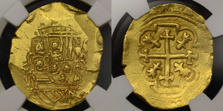 1715 FLEET, MEXICO (1711-13), PHILIP V GOLD 8 ESUDOS COB, MS63