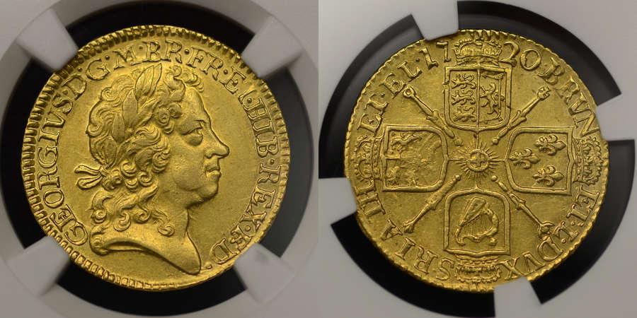GEORGE I 1720 GOLD GUINEA, FOURTH HEAD, AU58