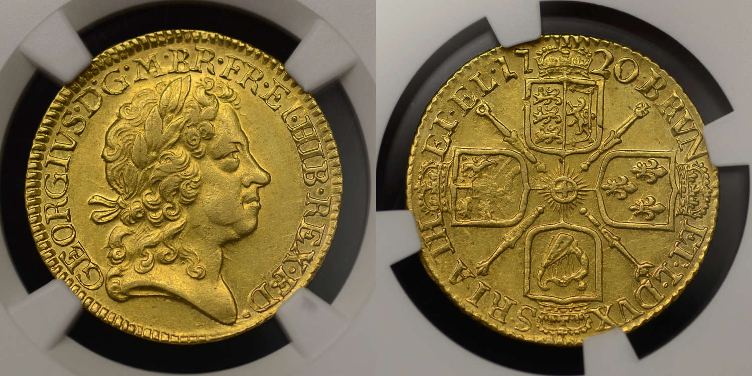 GEORGE I 1720 GOLD GUINEA, FOURTH HEAD, AU58