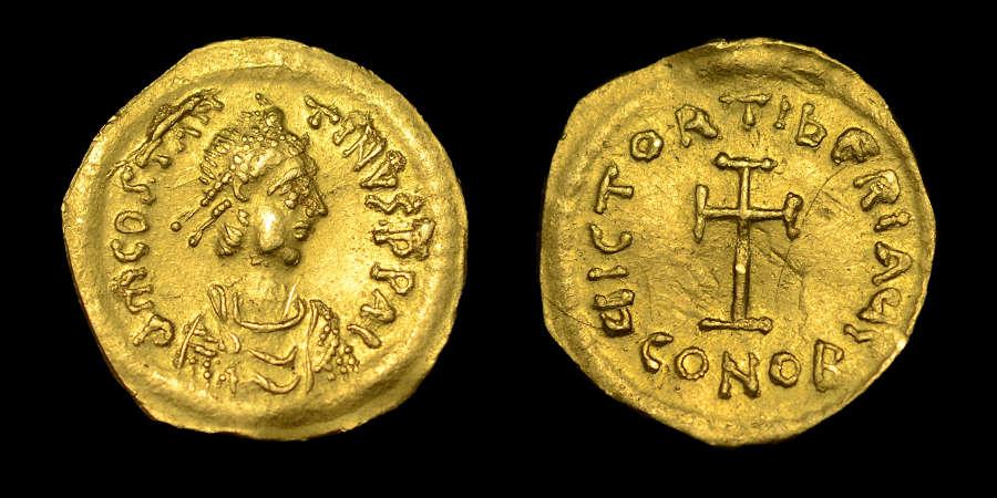 TIBERIUS II CONSTANTINE, GOLD TREMISSIS