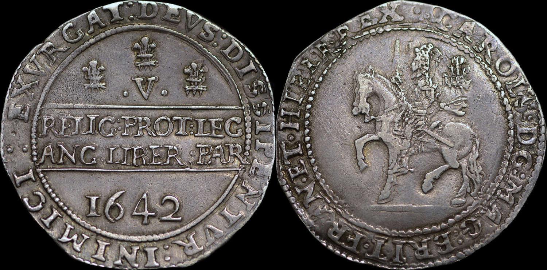 CHARLES I 1642 CROWN, OXFORD MINT