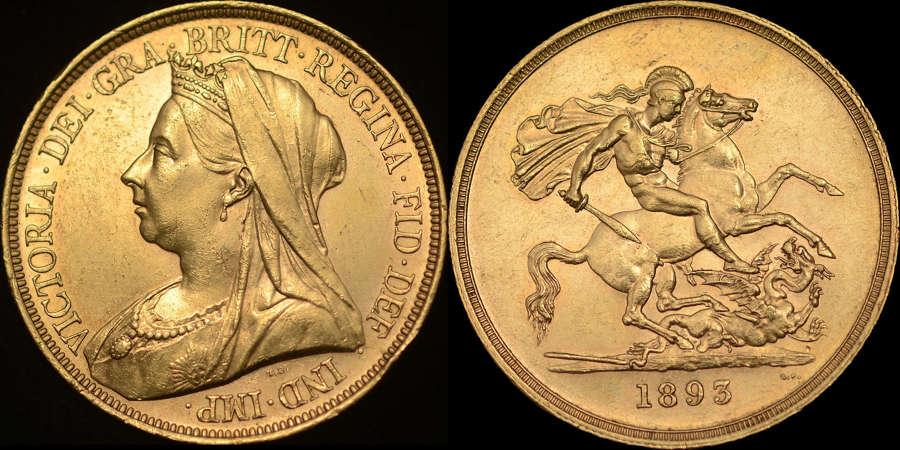 VICTORIA 1893 GOLD FIVE POUNDS