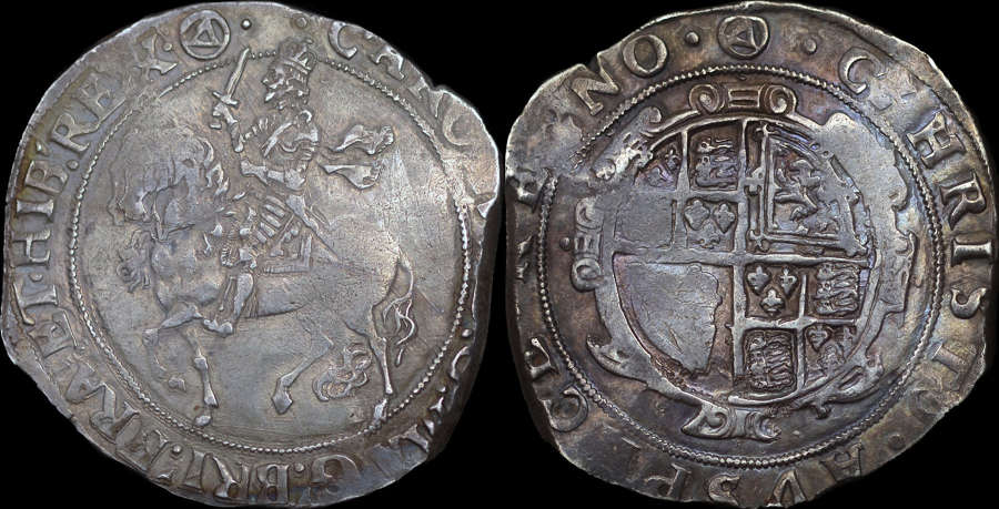 CHARLES I SILVER HALFCROWN, GROUP IV