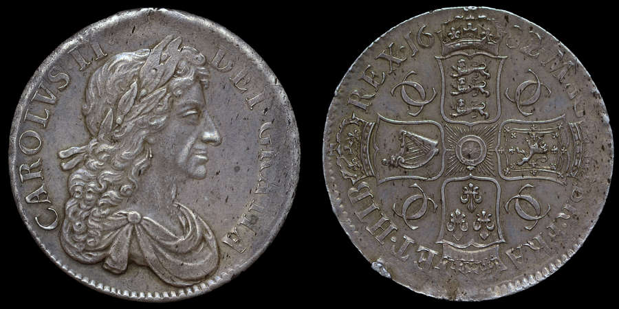 CHARLES II SILVER CROWN, 1682 OVER 1