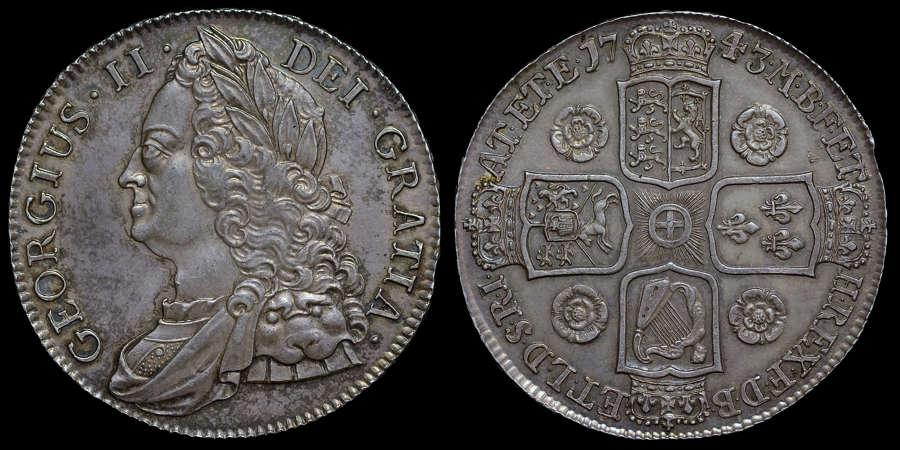 GEORGE II, 1743 CROWN, ROSES REVERSE