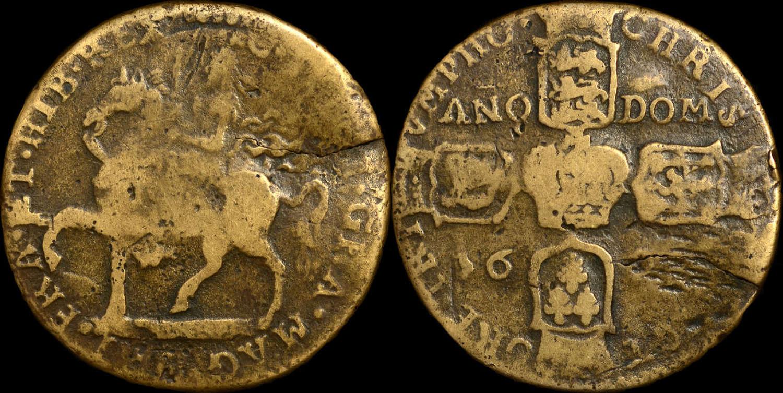 IRELAND, JAMES II 1690 'GUNMONEY' CROWN