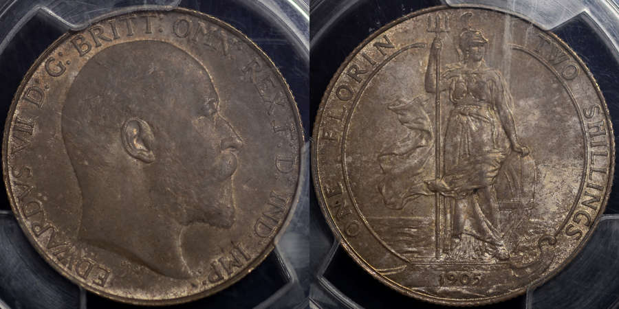 EDWARD VII 1905 FLORIN, PCGS MS64, EX. LINGFORD COLLECTION