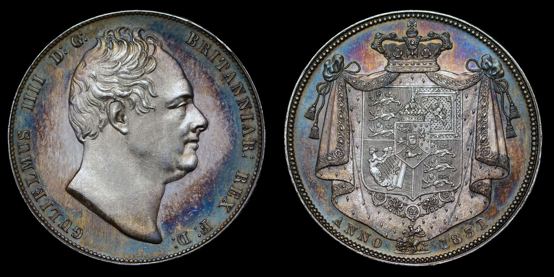 WILLIAM IV, 1831 SILVER PROOF HALFCROWN