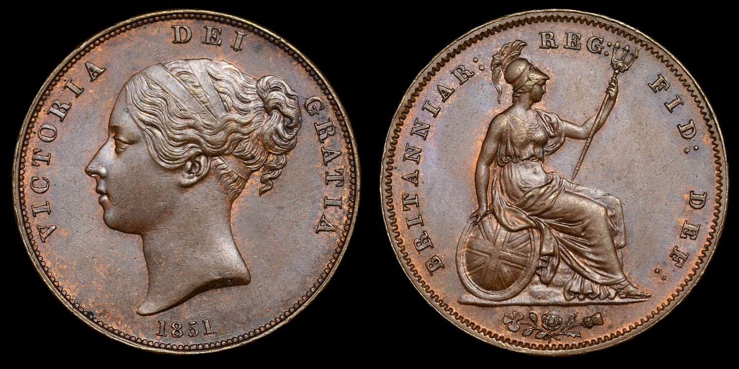 VICTORIA, YOUNG HEAD PENNY, 1851