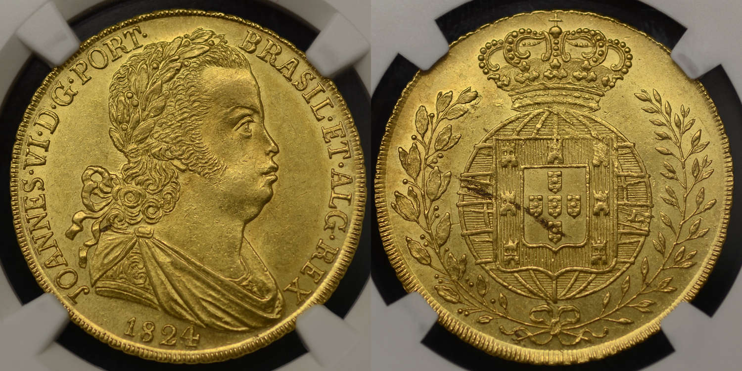 PORTUGAL, JUAN VI,1824, 1 PECA (6400 REIS) SLABBED & GRADED MS63