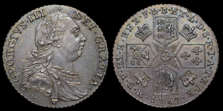 GEORGE III 1787 SHILLING, NO HEARTS