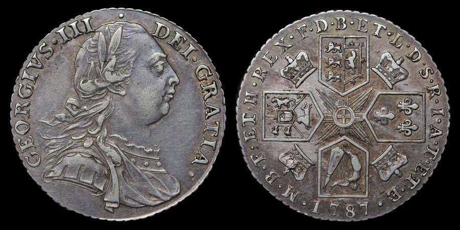 GEORGE III 1787 SILVER SHILLING, WITH HEARTS