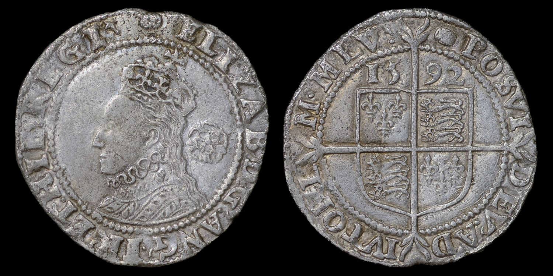 ELIZABETH I 1592 SIXPENCE