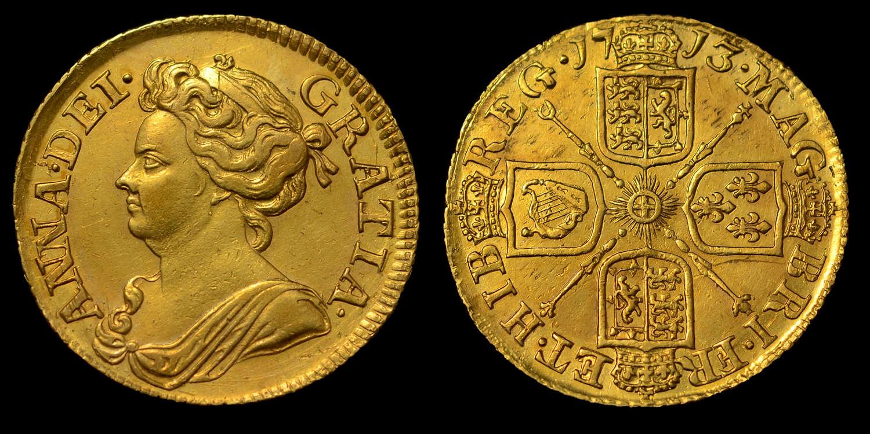 ANNE 1713 GOLD GUINEA