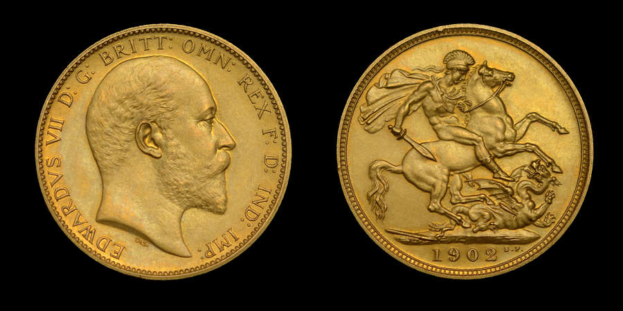EDWARD VII 1902 MATT PROOF SET - SOVEREIGN TO MAUNDY PENNY