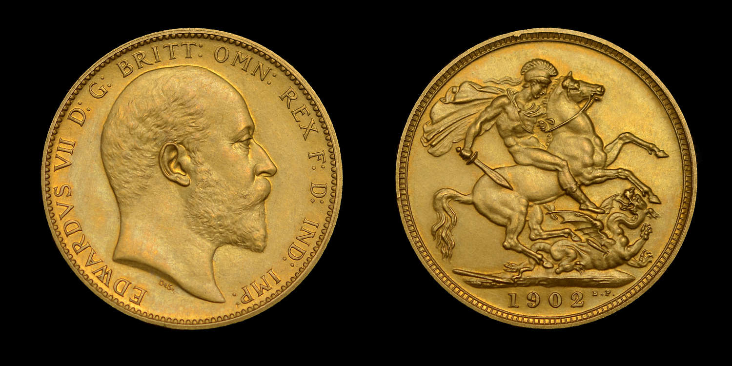 EDWARD VII 1902 MATT PROOF SET - SOVEREIGN TO MAUNDY PENNY