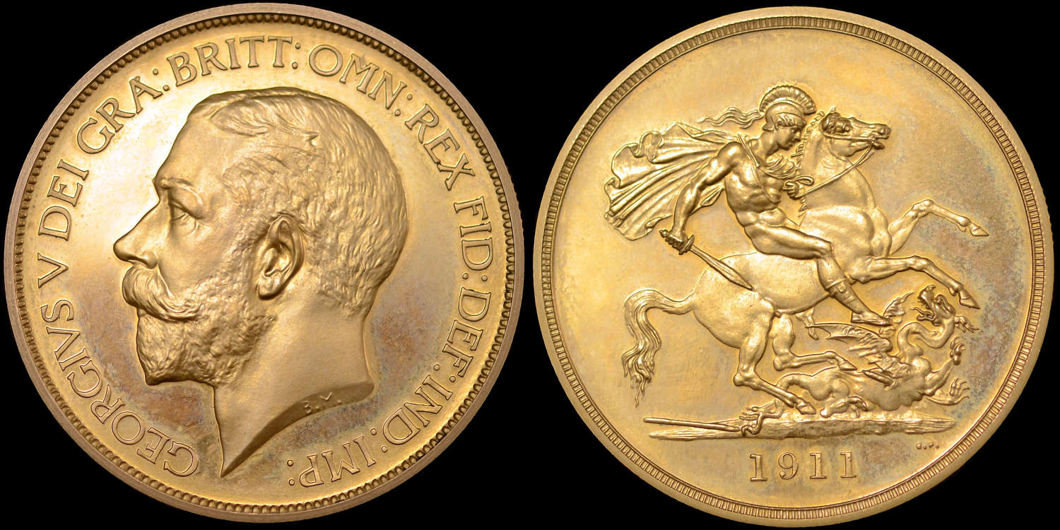GEORGE V 1911 PROOF GOLD FIVE POUNDS PF65