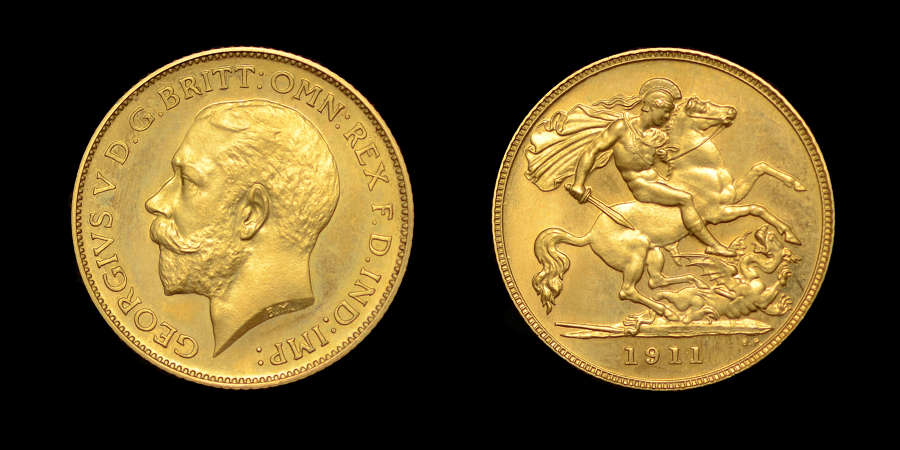 GEORGE V 1911 PROOF GOLD HALF-SOVEREIGN PF 66+